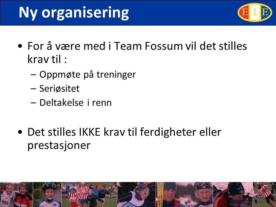 Ny organisering For å være med i Team Fossum vil det stilles krav til : –Oppmøte på treninger –Seriøsitet –Deltakelse i renn Det stilles IKKE krav til ferdigheter eller prestasjoner