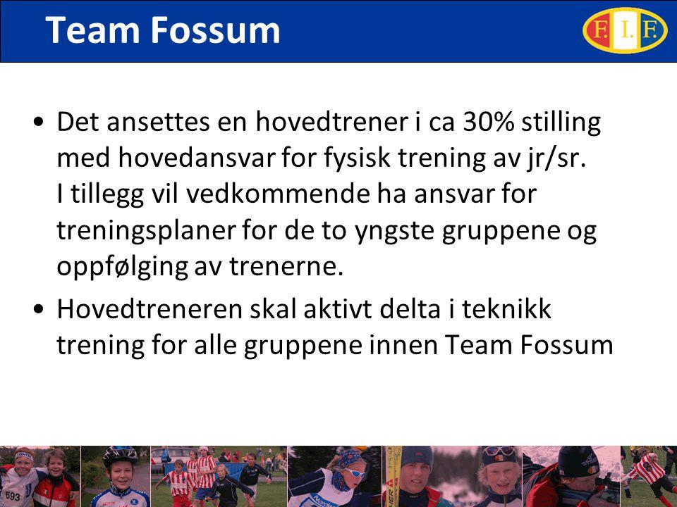 Team Fossum Det ansettes en hovedtrener i ca 30% stilling med hovedansvar for fysisk trening av jr/sr. I tillegg vil vedkommende ha ansvar for trening