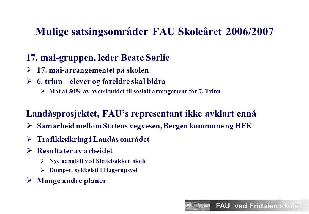 Mulige satsingsområder FAU Skoleåret 2006/2007 17.