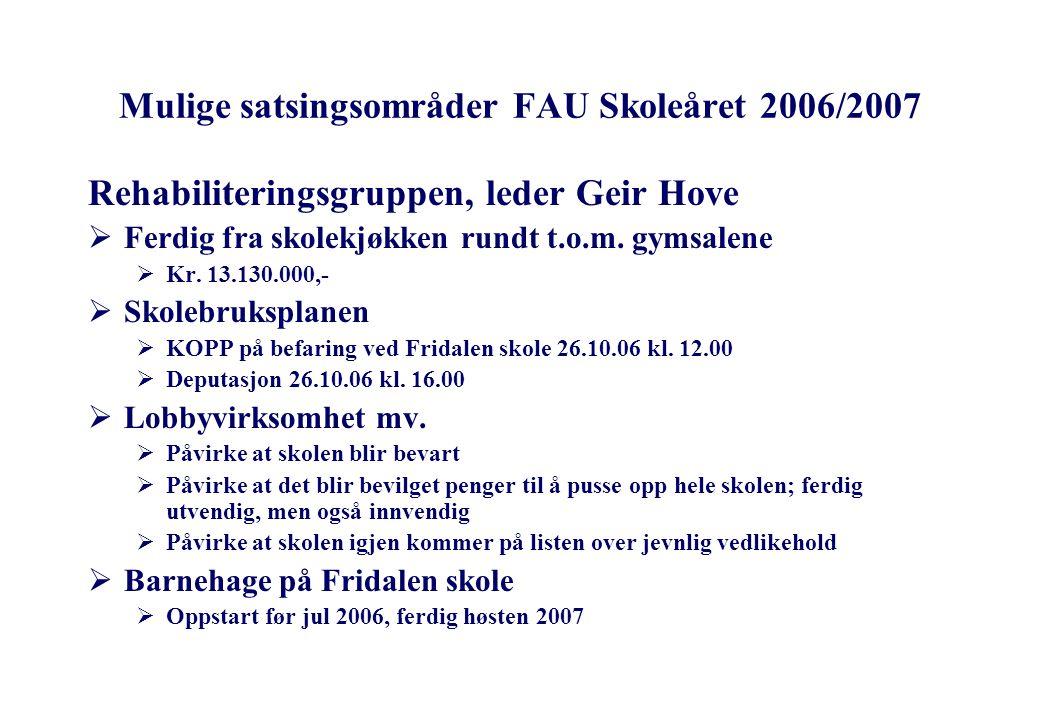 Mulige satsingsområder FAU Skoleåret 2006/2007 Rehabiliteringsgruppen, leder Geir Hove  Ferdig fra skolekjøkken rundt t.o.m.