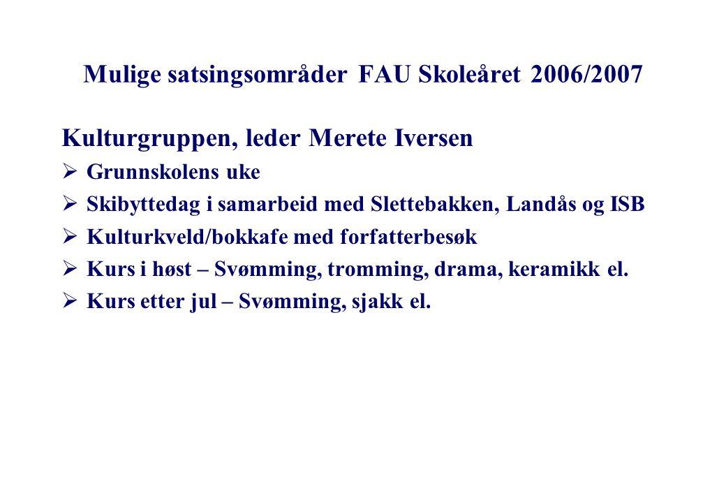 Mulige satsingsområder FAU Skoleåret 2006/2007 Miljøgruppen, leder Carsten Andersen  Aktiv skolegård  Oppfølging av SFO-undersøkelsen  Til skolen for egen maskin  Dugnad til våren