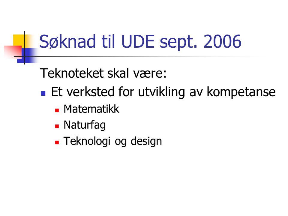 Søknad til UDE sept. 2006 Teknoteket skal være: Et verksted for utvikling av kompetanse Matematikk Naturfag Teknologi og design
