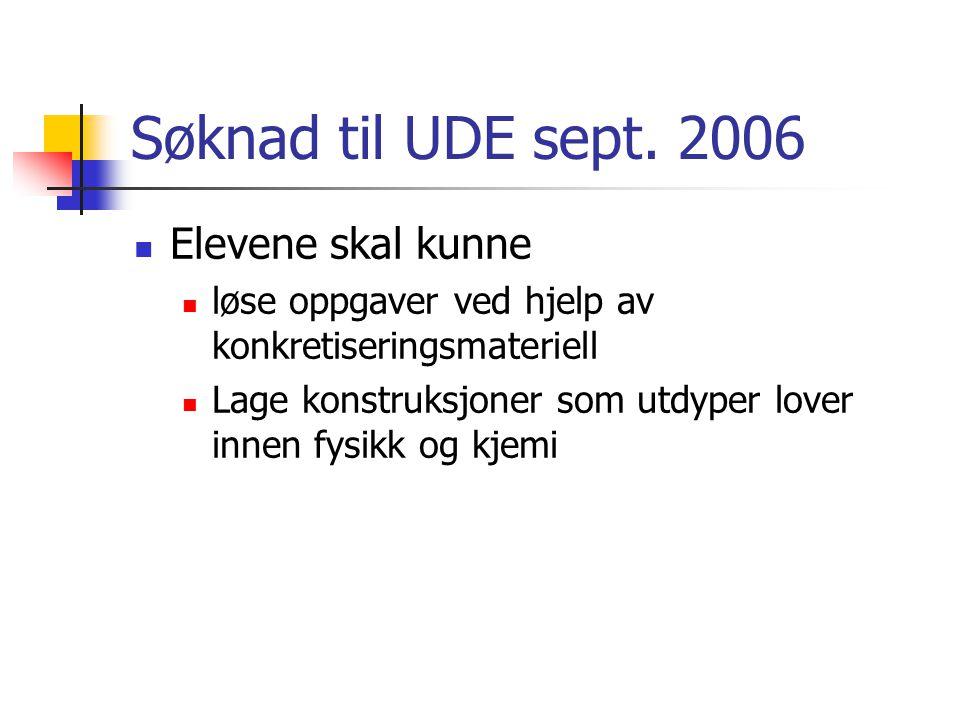Søknad til UDE sept. 2006 Elevene skal kunne løse oppgaver ved hjelp av konkretiseringsmateriell Lage konstruksjoner som utdyper lover innen fysikk og
