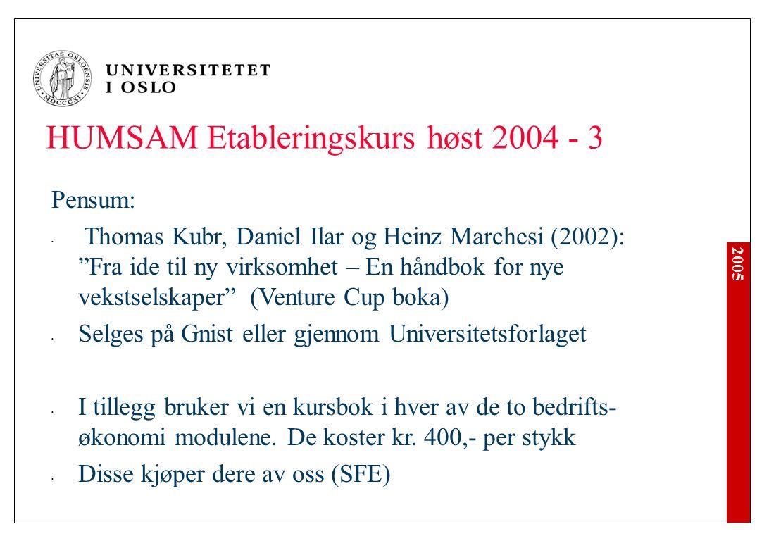 "2005 HUMSAM Etableringskurs høst 2004 - 3 Pensum: Thomas Kubr, Daniel Ilar og Heinz Marchesi (2002): ""Fra ide til ny virksomhet – En håndbok for nye v"