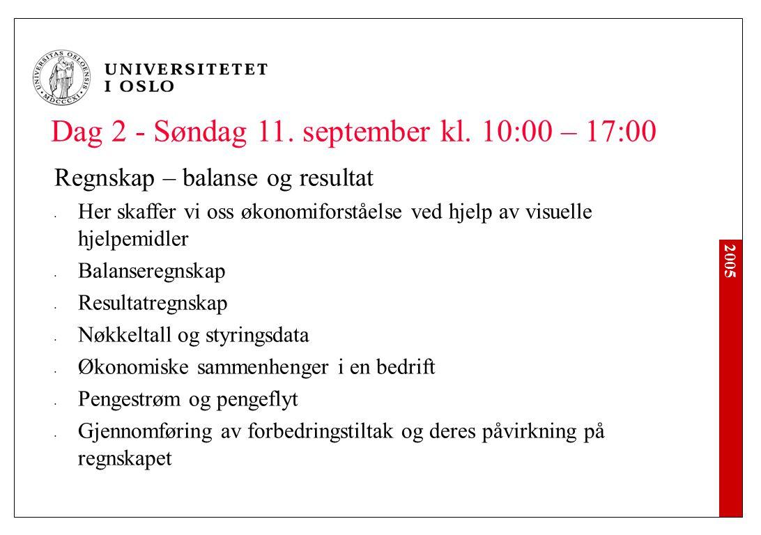 2005 Dag 2 - Søndag 11. september kl. 10:00 – 17:00 Regnskap – balanse og resultat Her skaffer vi oss økonomiforståelse ved hjelp av visuelle hjelpemi