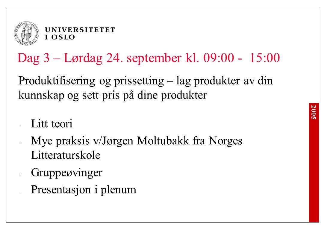 2005 Dag 3 – Lørdag 24. september kl. 09:00 - 15:00 Produktifisering og prissetting – lag produkter av din kunnskap og sett pris på dine produkter Lit