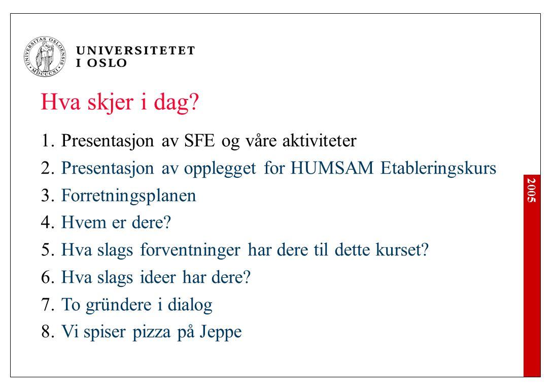 2005 1.Presentasjon av SFE og våre aktiviteter 2.Presentasjon av opplegget for HUMSAM Etableringskurs 3.Forretningsplanen 4.Hvem er dere? 5.Hva slags