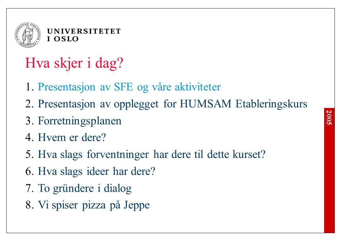2005 1.Senter for entreprenørskap Senteret ble opprettet 1.