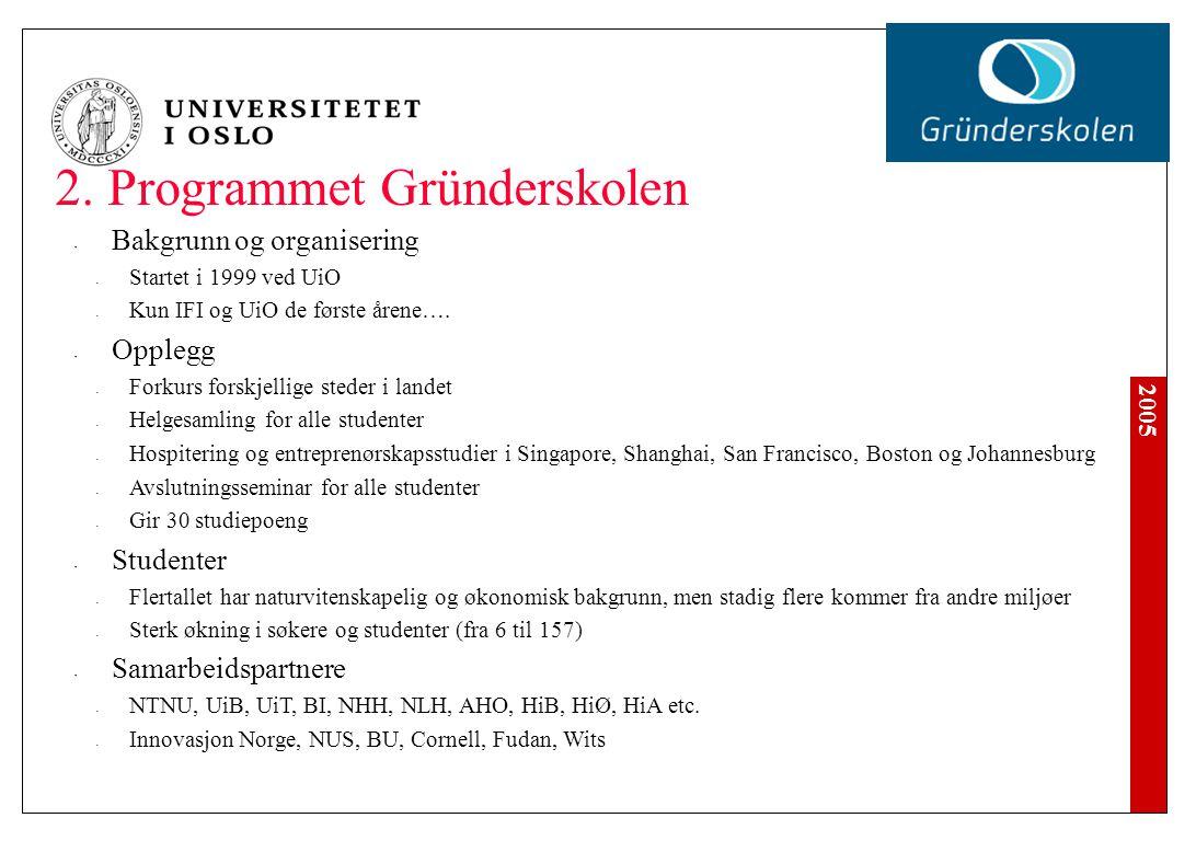 2005 2. Programmet Gründerskolen Bakgrunn og organisering Startet i 1999 ved UiO Kun IFI og UiO de første årene…. Opplegg Forkurs forskjellige steder