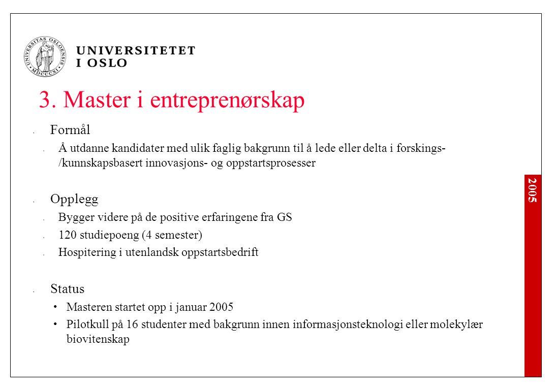 2005 3. Master i entreprenørskap Formål Å utdanne kandidater med ulik faglig bakgrunn til å lede eller delta i forskings- /kunnskapsbasert innovasjons