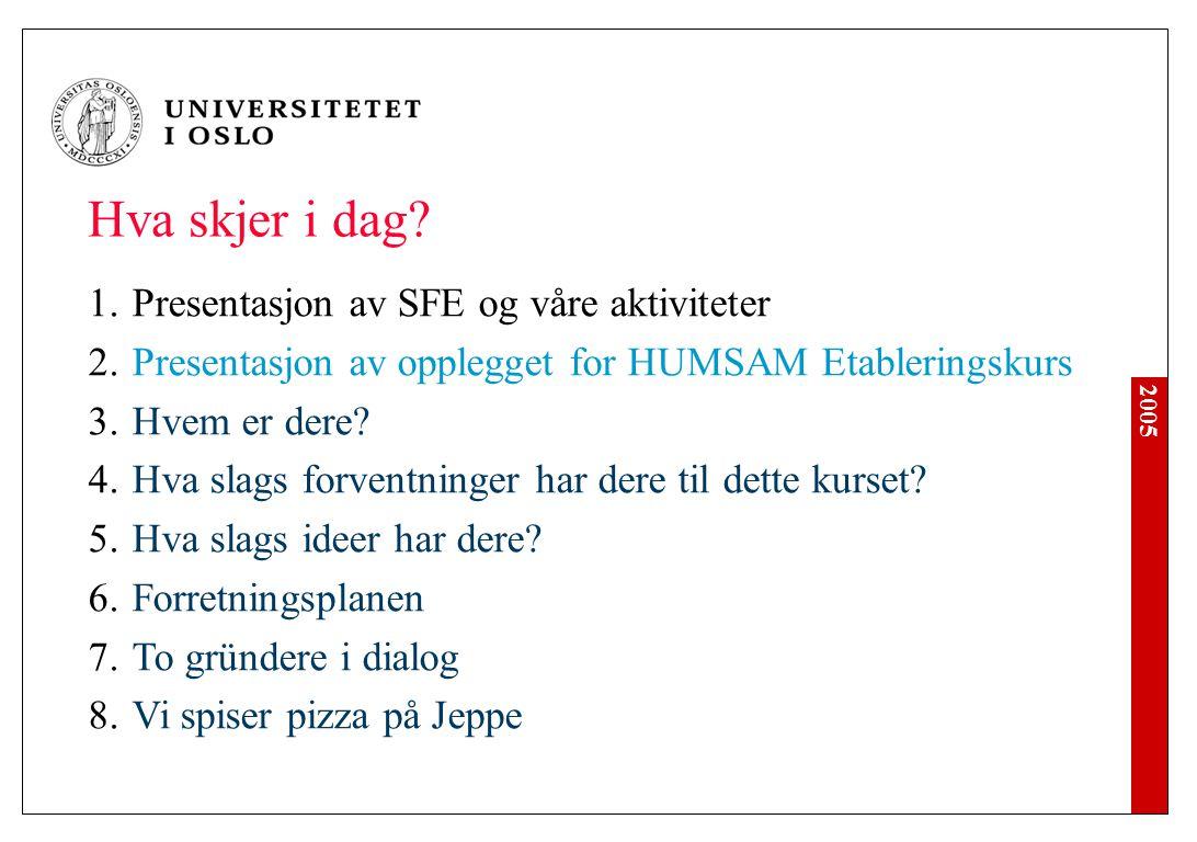 2005 1.Presentasjon av SFE og våre aktiviteter 2.Presentasjon av opplegget for HUMSAM Etableringskurs 3.Hvem er dere? 4.Hva slags forventninger har de