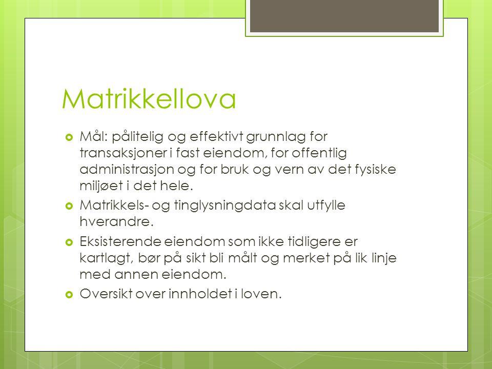Matrikkellova  Mål: pålitelig og effektivt grunnlag for transaksjoner i fast eiendom, for offentlig administrasjon og for bruk og vern av det fysiske