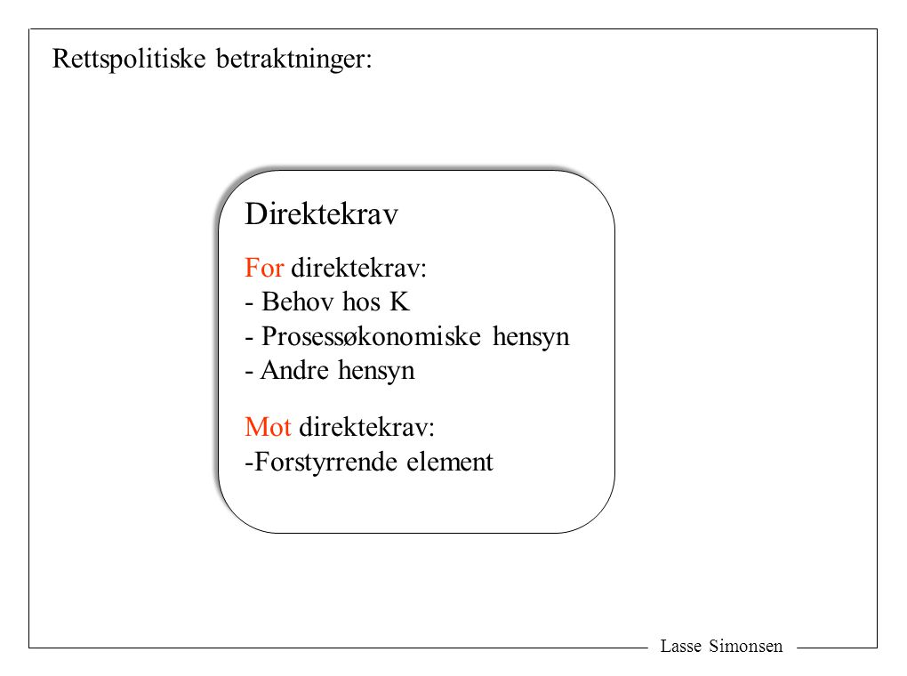 Lasse Simonsen H H S S K K Y Krav + Direktekrav Transaksjonen: - Ytelsen - Krav mot H Lovhjemlede direktekrav – aksessoriske kontraktkrav: