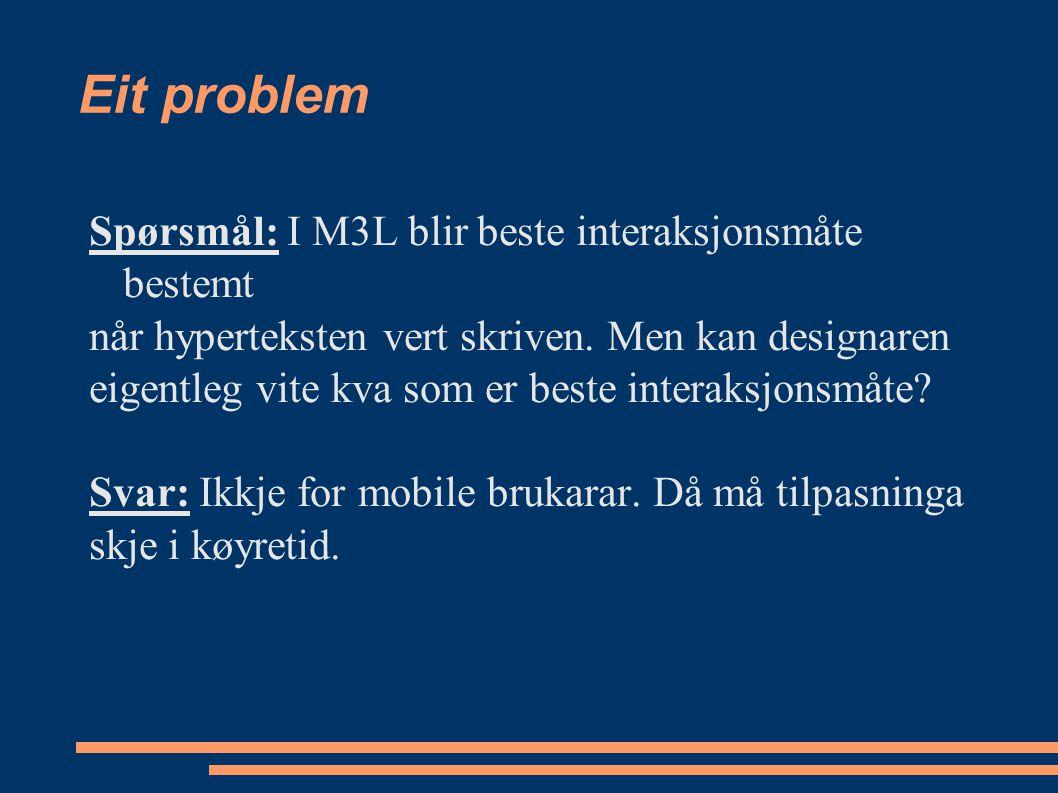 Eit problem Spørsmål: I M3L blir beste interaksjonsmåte bestemt når hyperteksten vert skriven.