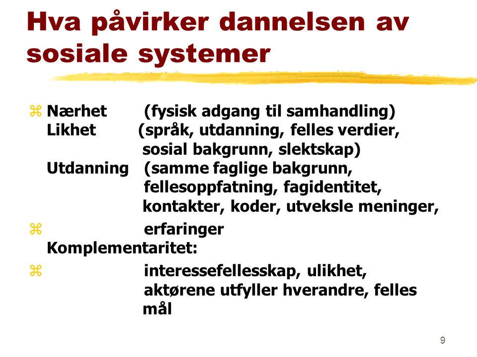 8 Det sosiale systemet zI Norge: klare grenser innad i landet zSamhandling foregår innenfor landegrenser zUtvikling og globalisering krever større samhandling på tvers av landegrenser