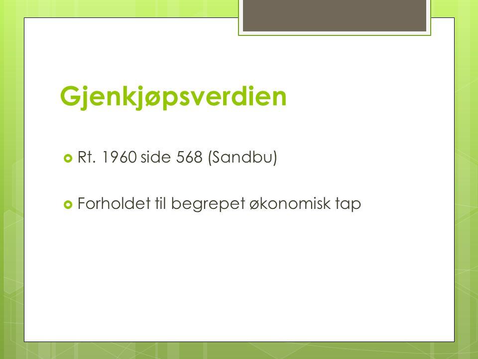 Gjenkjøpsverdien  Rt. 1960 side 568 (Sandbu)  Forholdet til begrepet økonomisk tap