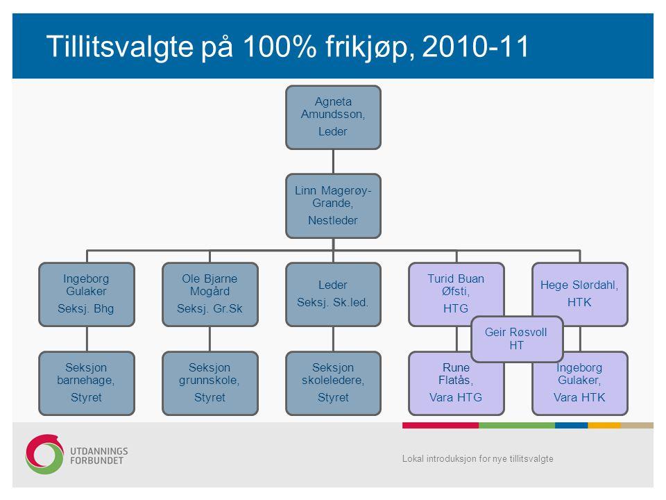 Tillitsvalgte på 100% frikjøp, 2010-11 Agneta Amundsson, Leder Linn Magerøy- Grande, Nestleder Ingeborg Gulaker Seksj.