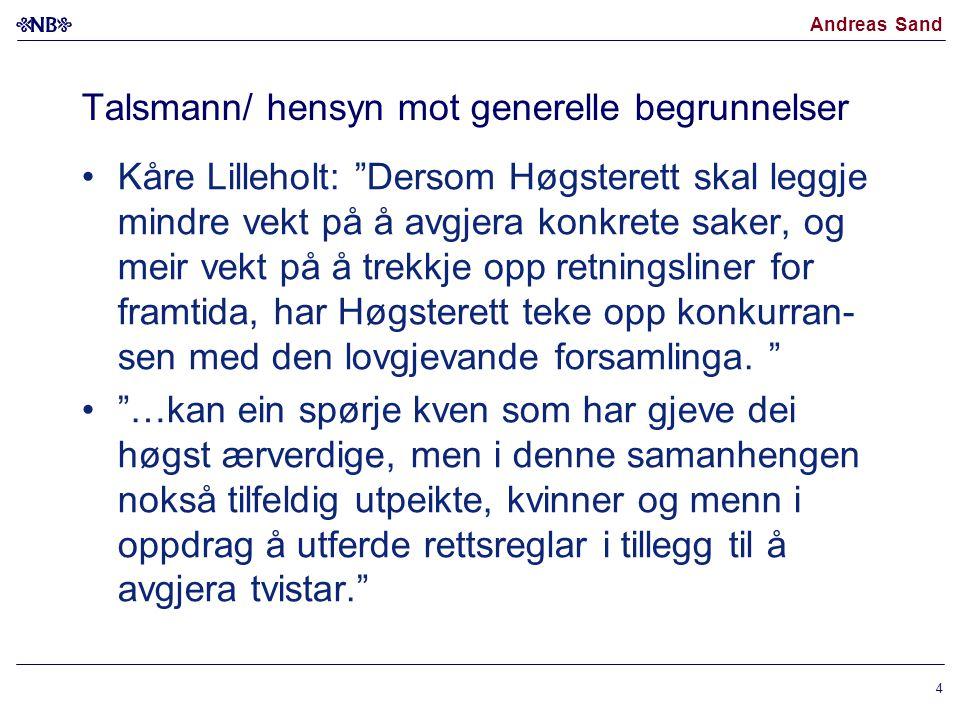 """Andreas Sand Talsmann/ hensyn mot generelle begrunnelser Kåre Lilleholt: """"Dersom Høgsterett skal leggje mindre vekt på å avgjera konkrete saker, og me"""