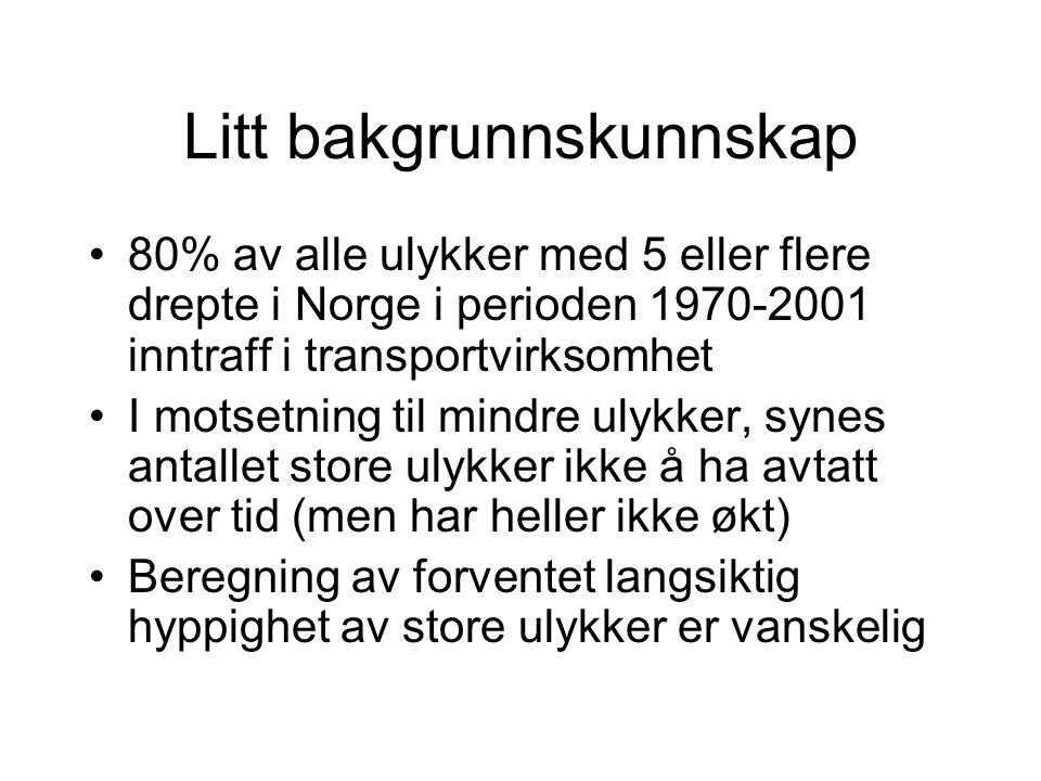Litt bakgrunnskunnskap 80% av alle ulykker med 5 eller flere drepte i Norge i perioden 1970-2001 inntraff i transportvirksomhet I motsetning til mindre ulykker, synes antallet store ulykker ikke å ha avtatt over tid (men har heller ikke økt) Beregning av forventet langsiktig hyppighet av store ulykker er vanskelig