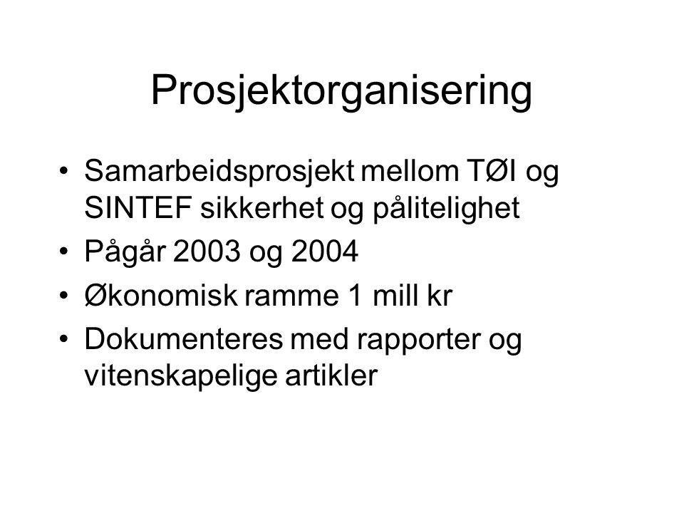Prosjektorganisering Samarbeidsprosjekt mellom TØI og SINTEF sikkerhet og pålitelighet Pågår 2003 og 2004 Økonomisk ramme 1 mill kr Dokumenteres med rapporter og vitenskapelige artikler