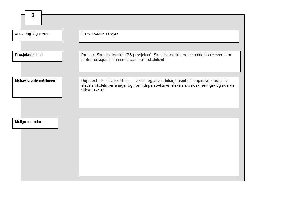 Prosjektets tittel Mulige problemstillinger Ansvarlig fagperson Mulige metoder Prosjekt Skolelivskvalitet (PS-prosjektet): Skolelivskvalitet og mestri