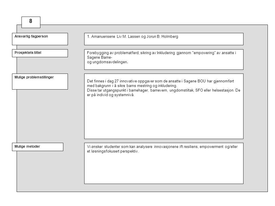 Prosjektets tittel Mulige problemstillinger Ansvarlig fagperson Mulige metoder Ulike tema i tilknytning til synsfeltet Kvalitative tilnærminger, for eksempel intervju, observasjon, case-studier, dokumentanalyse med mer.