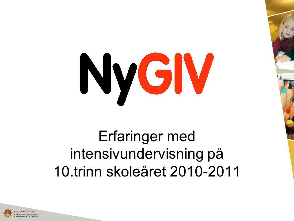 Erfaringer med intensivundervisning på 10.trinn skoleåret 2010-2011