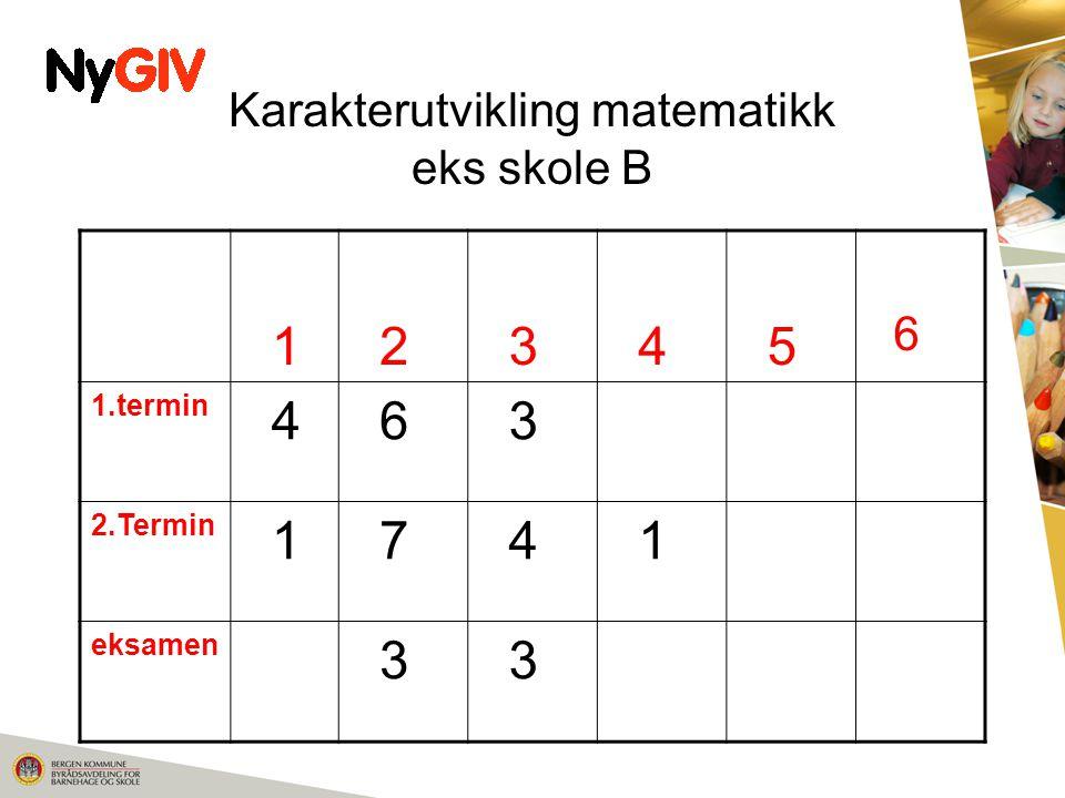 Karakterutvikling matematikk eks skole B 1 2 3 4 5 6 1.termin 4 6 3 2.Termin 1 7 4 1 eksamen 3 3