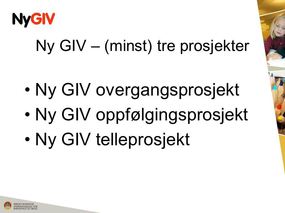 Ny GIV – (minst) tre prosjekter Ny GIV overgangsprosjekt Ny GIV oppfølgingsprosjekt Ny GIV telleprosjekt