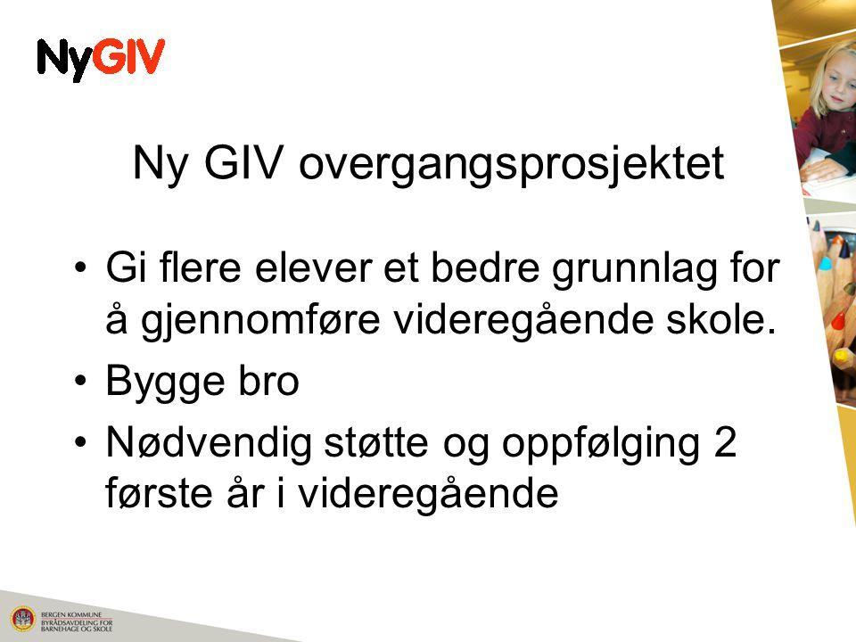 Ny GIV overgangsprosjektet Gi flere elever et bedre grunnlag for å gjennomføre videregående skole.