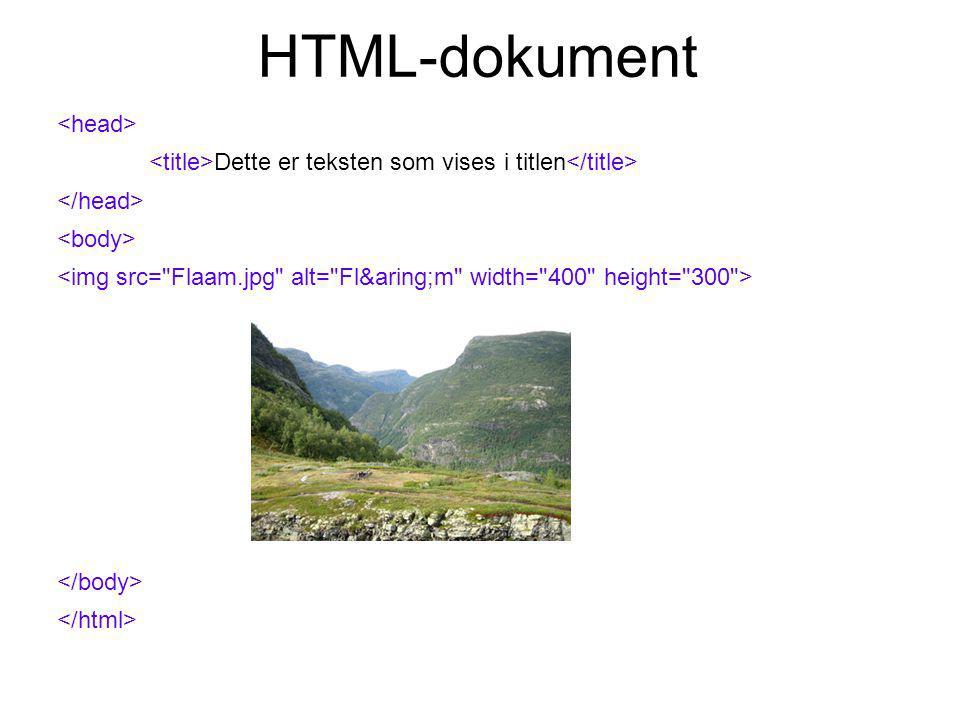 HTML-dokument Dette er teksten som vises i titlen