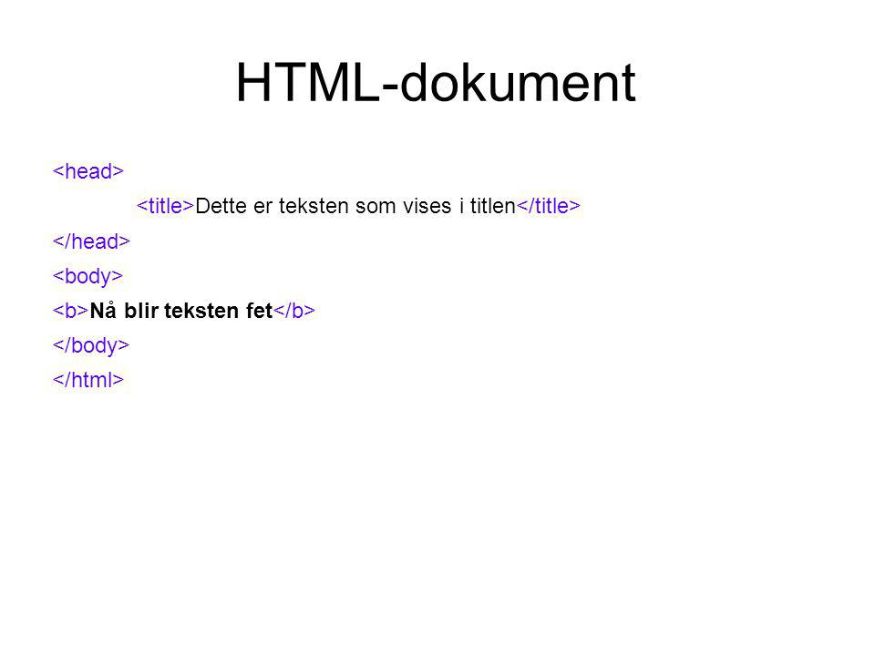 HTML-dokument Dette er teksten som vises i titlen Nå blir teksten kursiv