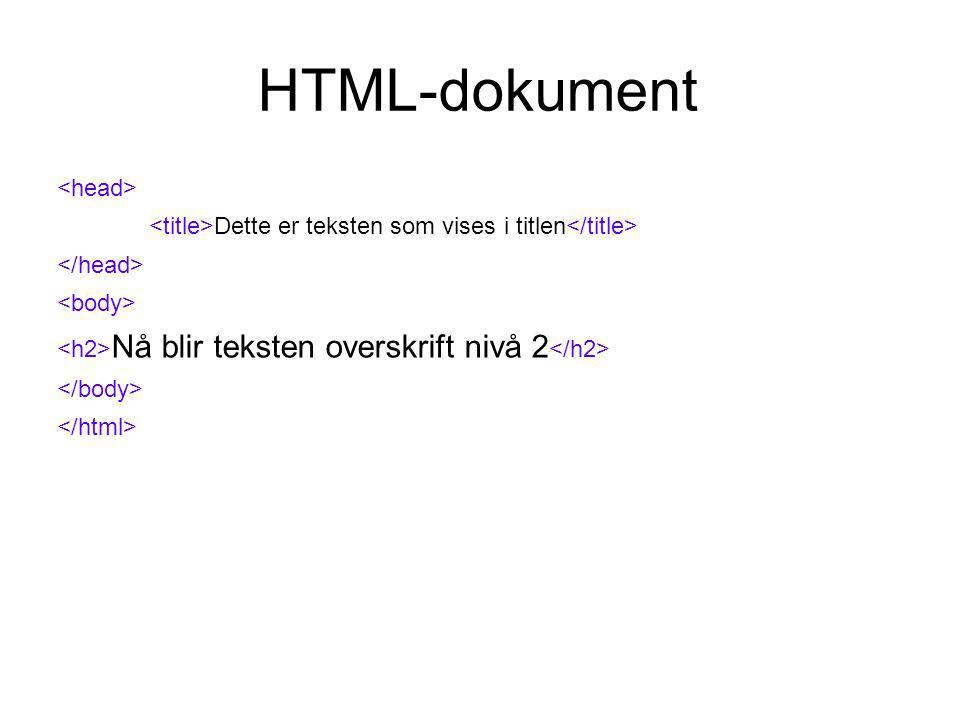 HTML-dokument Dette er teksten som vises i titlen Nå blir teksten overskrift nivå 2