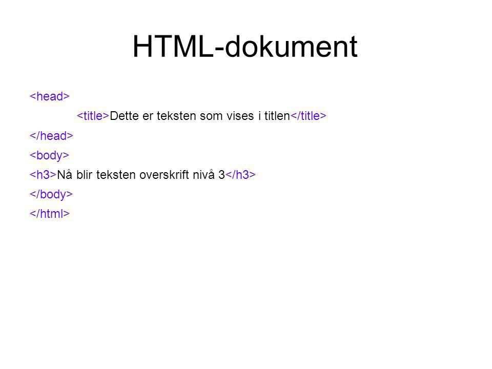 HTML-dokument Dette er teksten som vises i titlen Nå blir teksten et eget avsnitt slik at denne teksten kommer på linjen under og blir et nytt avsnitt