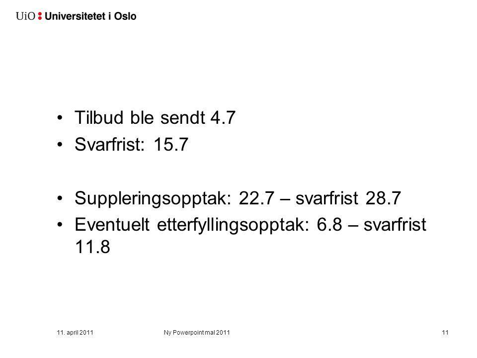 Tilbud ble sendt 4.7 Svarfrist: 15.7 Suppleringsopptak: 22.7 – svarfrist 28.7 Eventuelt etterfyllingsopptak: 6.8 – svarfrist 11.8 11. april 2011Ny Pow