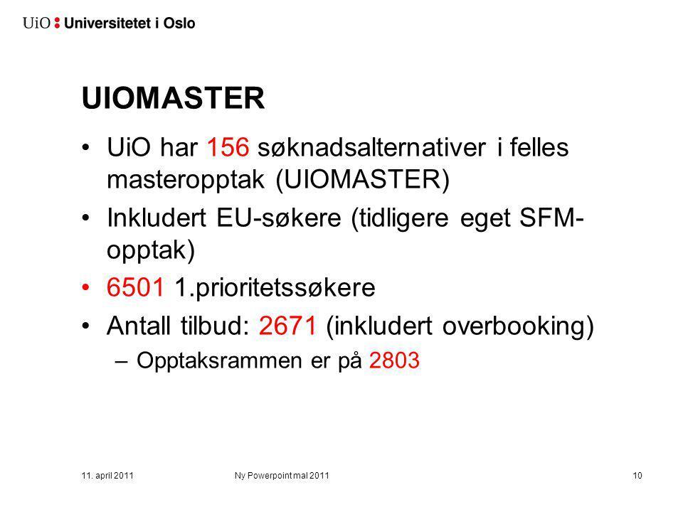 UIOMASTER UiO har 156 søknadsalternativer i felles masteropptak (UIOMASTER) Inkludert EU-søkere (tidligere eget SFM- opptak) 6501 1.prioritetssøkere A