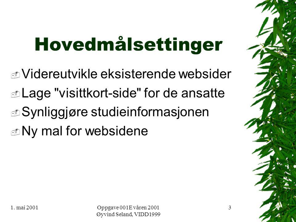 1. mai 2001Oppgave 001E våren 2001 Øyvind Seland, VIDD1999 3 Hovedmålsettinger  Videreutvikle eksisterende websider  Lage