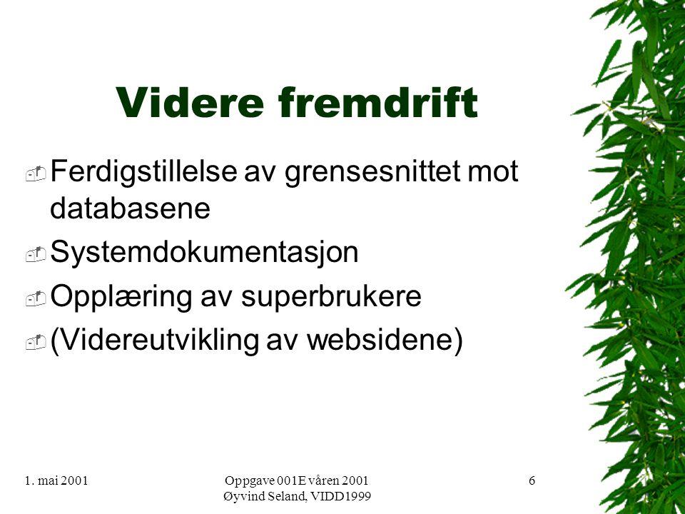 1. mai 2001Oppgave 001E våren 2001 Øyvind Seland, VIDD1999 6 Videre fremdrift  Ferdigstillelse av grensesnittet mot databasene  Systemdokumentasjon