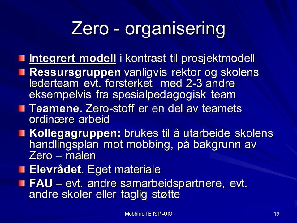 Mobbing TE ISP -UIO 19 Zero - organisering Integrert modell i kontrast til prosjektmodell Ressursgruppen vanligvis rektor og skolens lederteam evt.
