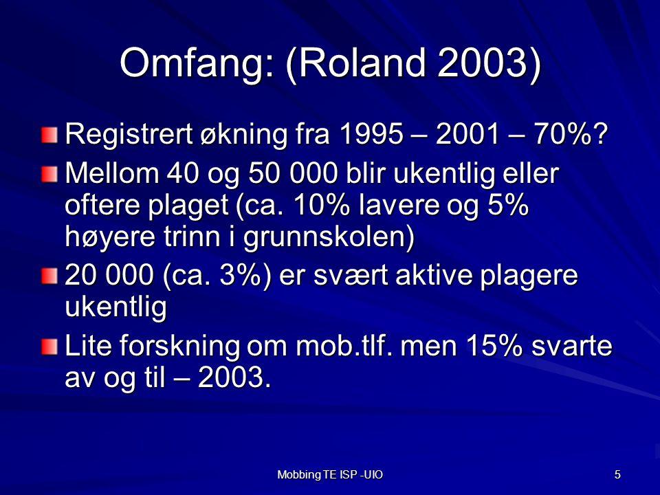 Mobbing TE ISP -UIO 5 Omfang: (Roland 2003) Registrert økning fra 1995 – 2001 – 70%.