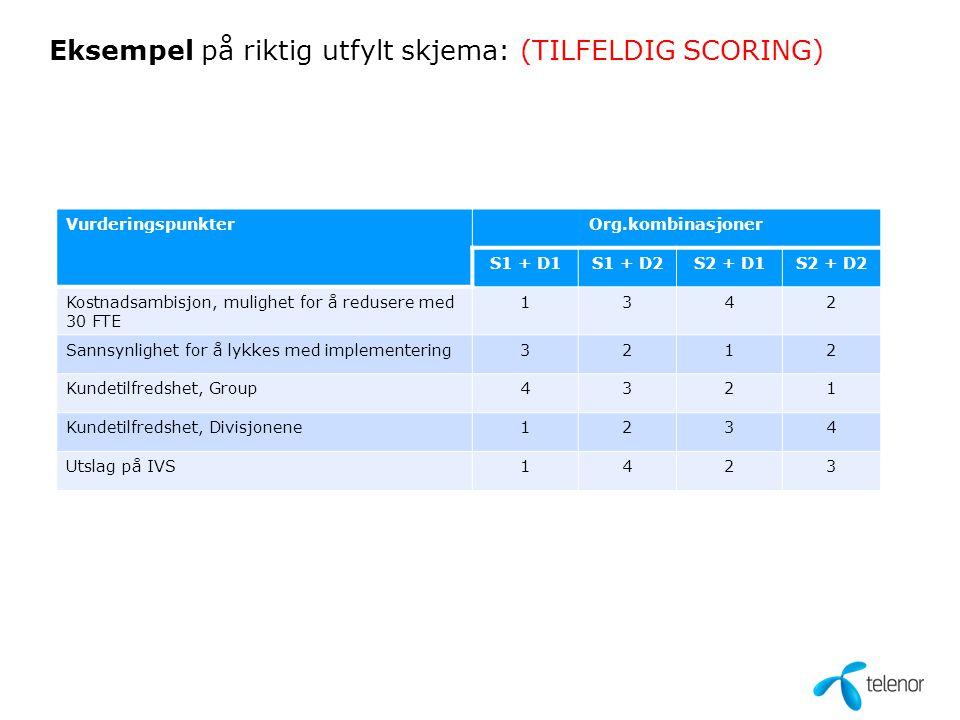 Eksempel på riktig utfylt skjema: (TILFELDIG SCORING) VurderingspunkterOrg.kombinasjoner S1 + D1S1 + D2S2 + D1S2 + D2 Kostnadsambisjon, mulighet for å redusere med 30 FTE 1342 Sannsynlighet for å lykkes med implementering3212 Kundetilfredshet, Group4321 Kundetilfredshet, Divisjonene1234 Utslag på IVS1423