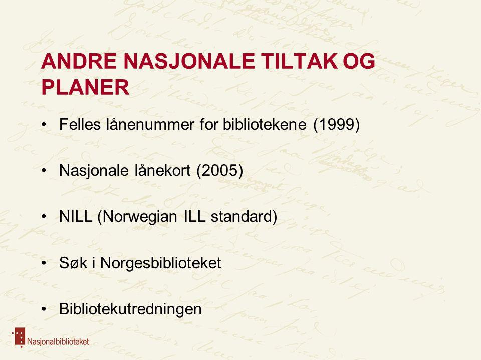 ANDRE NASJONALE TILTAK OG PLANER Felles lånenummer for bibliotekene (1999) Nasjonale lånekort (2005) NILL (Norwegian ILL standard) Søk i Norgesbiblioteket Bibliotekutredningen