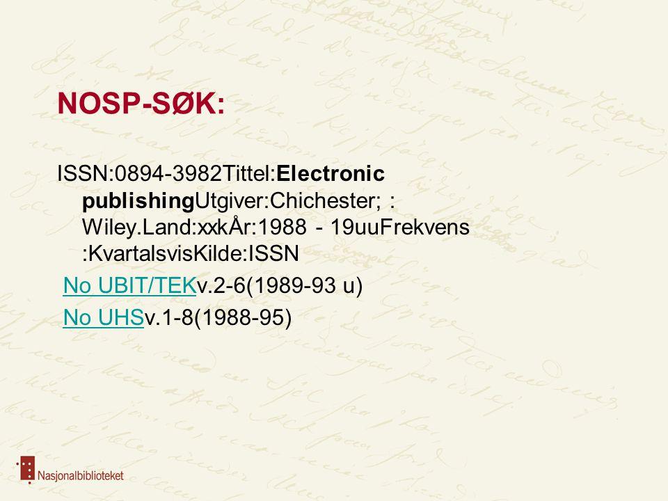 NOSP-SØK: ISSN:0894-3982Tittel:Electronic publishingUtgiver:Chichester; : Wiley.Land:xxkÅr:1988 - 19uuFrekvens :KvartalsvisKilde:ISSN No UBIT/TEKv.2-6(1989-93 u)No UBIT/TEK No UHSv.1-8(1988-95)No UHS