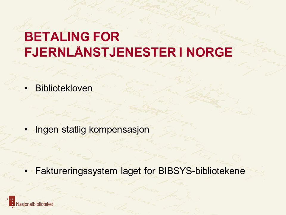 BETALING FOR FJERNLÅNSTJENESTER I NORGE Bibliotekloven Ingen statlig kompensasjon Faktureringssystem laget for BIBSYS-bibliotekene