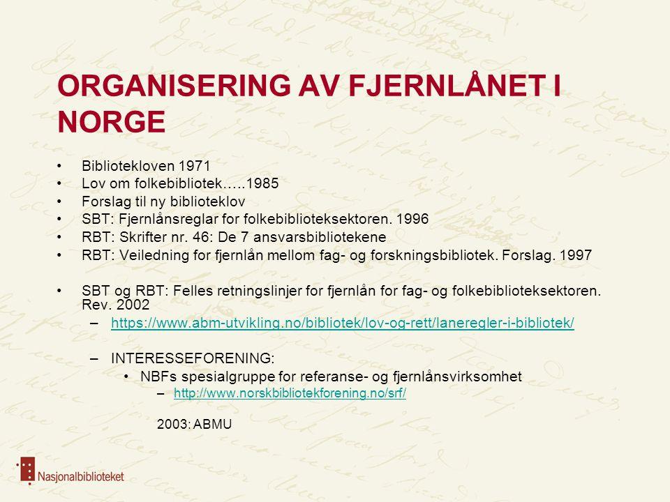 ORGANISERING AV FJERNLÅNET I NORGE Bibliotekloven 1971 Lov om folkebibliotek…..1985 Forslag til ny biblioteklov SBT: Fjernlånsreglar for folkebiblioteksektoren.