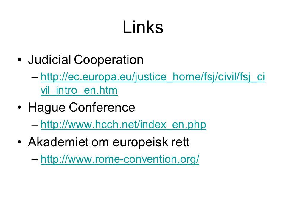 Links Judicial Cooperation –http://ec.europa.eu/justice_home/fsj/civil/fsj_ci vil_intro_en.htmhttp://ec.europa.eu/justice_home/fsj/civil/fsj_ci vil_intro_en.htm Hague Conference –http://www.hcch.net/index_en.phphttp://www.hcch.net/index_en.php Akademiet om europeisk rett –http://www.rome-convention.org/http://www.rome-convention.org/