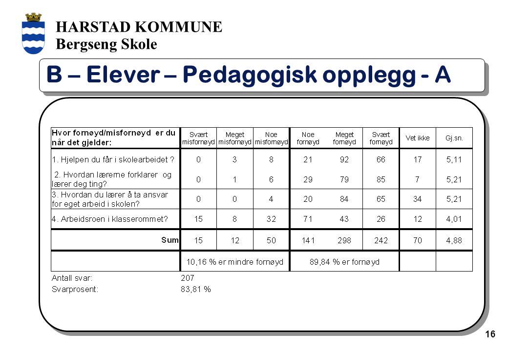 HARSTAD KOMMUNE Bergseng Skole 16 B – Elever – Pedagogisk opplegg - A