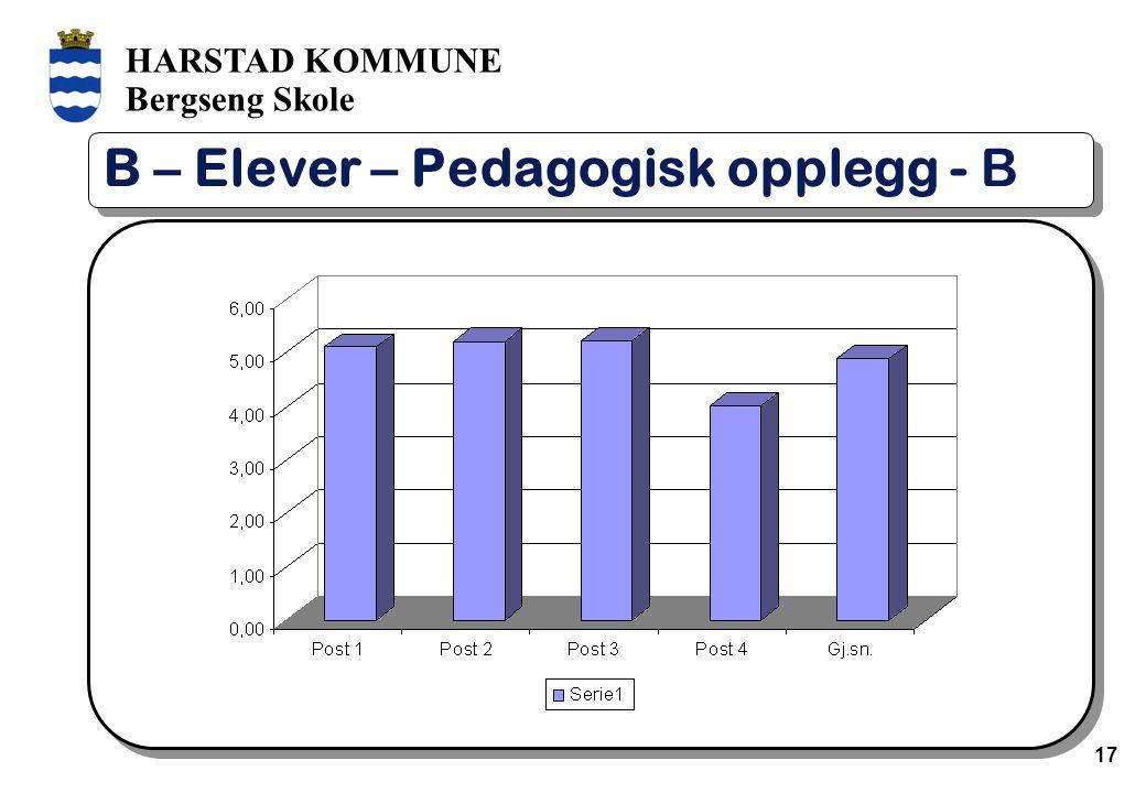 HARSTAD KOMMUNE Bergseng Skole 17 B – Elever – Pedagogisk opplegg - B