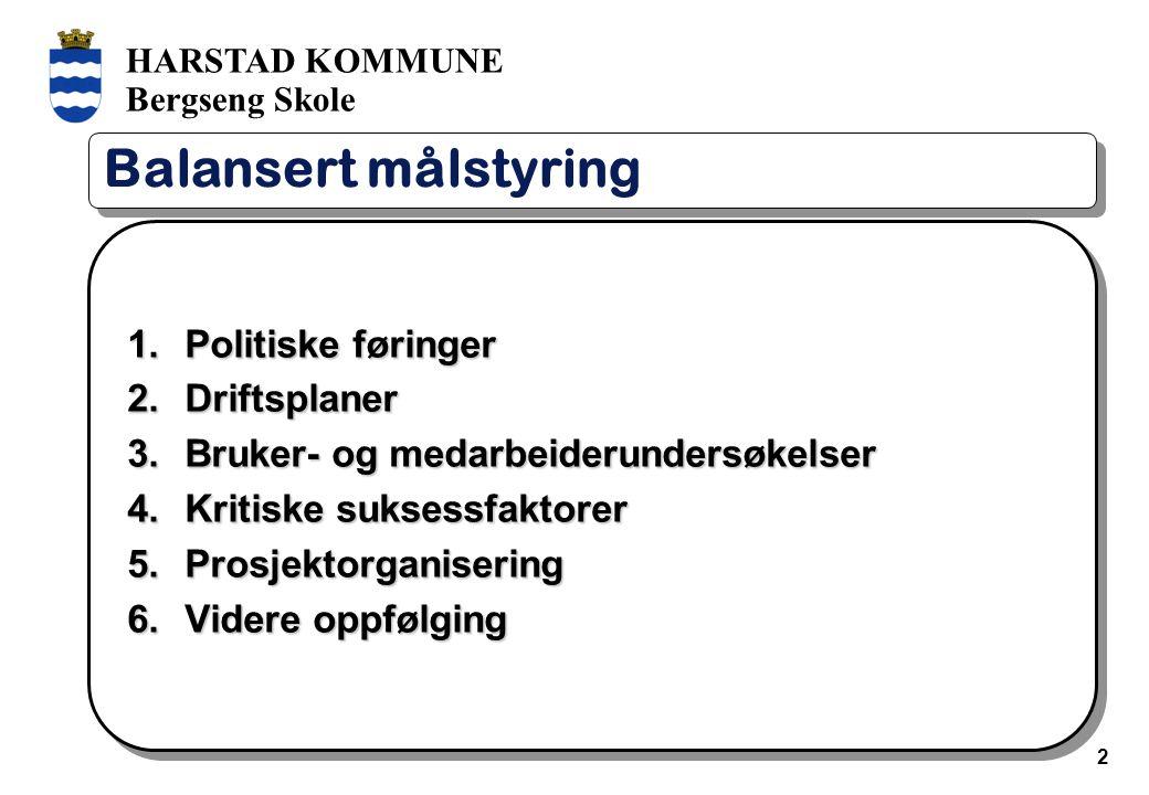 HARSTAD KOMMUNE Bergseng Skole 2 Balansert målstyring 1.Politiske føringer 2.Driftsplaner 3.Bruker- og medarbeiderundersøkelser 4.Kritiske suksessfakt