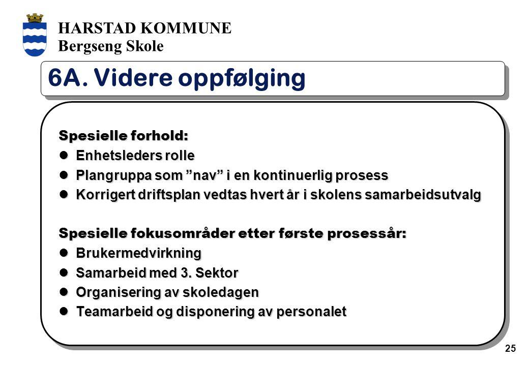 """HARSTAD KOMMUNE Bergseng Skole 25 6A. Videre oppfølging Spesielle forhold: Enhetsleders rolle Enhetsleders rolle Plangruppa som """"nav"""" i en kontinuerli"""